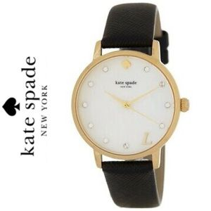 NWT Kate Spade leather gold tone monogram watch